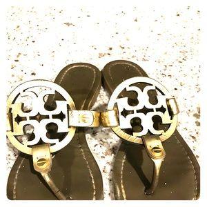Gold Tory Burch Miller Sandals size 7